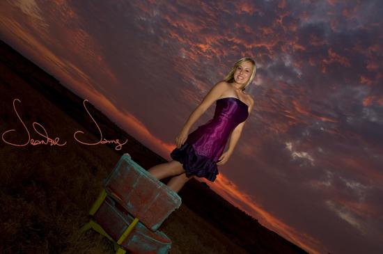 Abby on chair sunset
